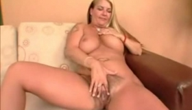 Blonde Milf With Big Tits, Alena Croft Likes Taking Off Her Pink Blouse And Playing With Her Slit