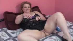 Horny British Chubby Redbone Fucks Two Guys Dick On The Chair