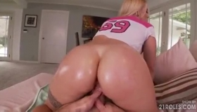 GIRLCUM POV Blonde Gets Assfucked With A Giant Silver Dildo By Round Tits Blonde Blonde Hunter
