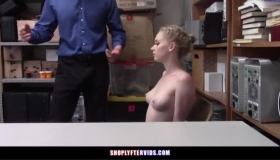 Naked Blonde Security Officer Cheats Her Young Client