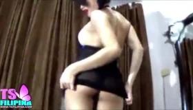 Ladyboy Babe In Black Lingerie Seduces White Dick