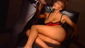 Nasty Blonde Belle Is Giving A Blowjob To Her Boss, In Front Of The Camera.