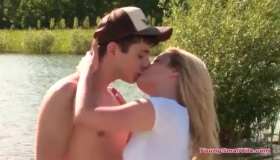 Petite Blonde Girl Named Tvette And Her Kinkyly Tied Up Boyfriend Are Playing Dirty With An Old Man.