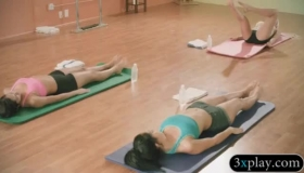 Two Brunette Yoga Girls Are Having A Great Time With Their Teacher, While He Licks Their Pussies