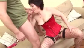 Horny Brunette Granny Is Not A Bi Girl, But That Doesn't Mean She Can't Suck Cock