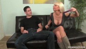 Horny Mature MILF Jerking Off A Hard Cock With Her Hands And Pussy