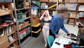 Redhead Thief In The Office Getting Cream Pie