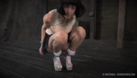 Brunette Bdsm Slave Shackled By Petite Blonde Female In The Bum Bondage And With Everywhere Loop One Hand In Her Pussy