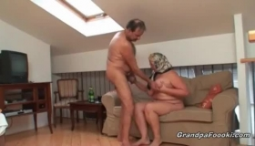 Blonde Granny Is Getting Fucked Hard, While Sucking On A Hard, Fat Dick At The Same Time