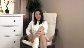 Gagging Brunette Doll Gives Passionate Blowjob