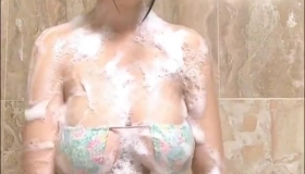 Busty Blond Taking A Shower