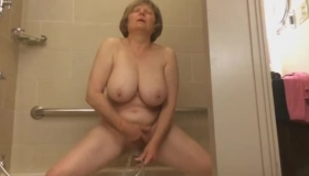 British Mature Getting A Bath While She Gets Threesome Fuck And A Full Load Of Jizzow